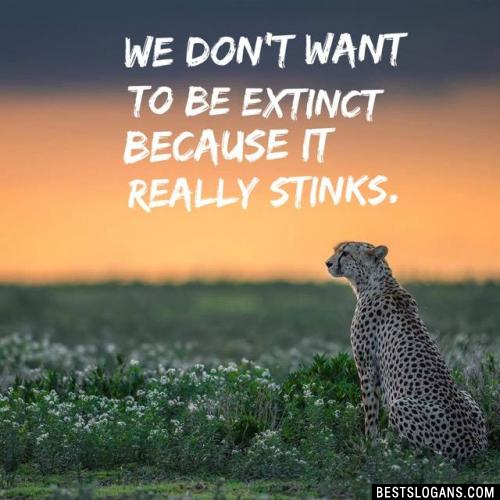 We don't want to be extinct because it really stinks.