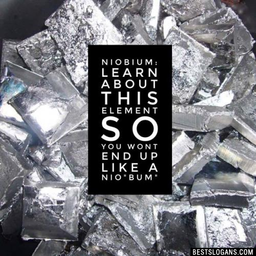 """Niobium: Learn about this element so you wont end up like a nio""""bum"""""""