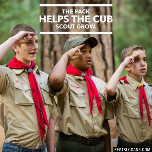 The pack helps the Cub Scout grow.