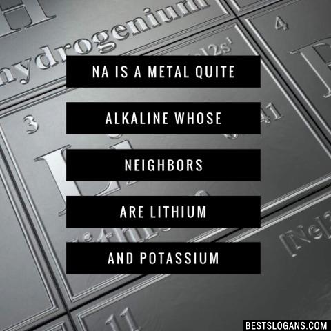 Na is a metal quite alkaline whose neighbors are lithium and potassium